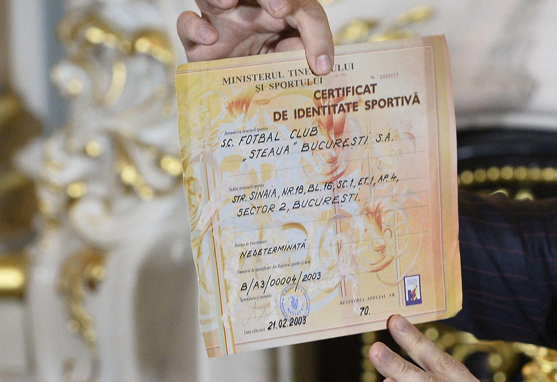certificat de identitate sportiva FC Fcsb