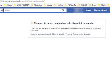 telekom sport pagina facebook inexistenta