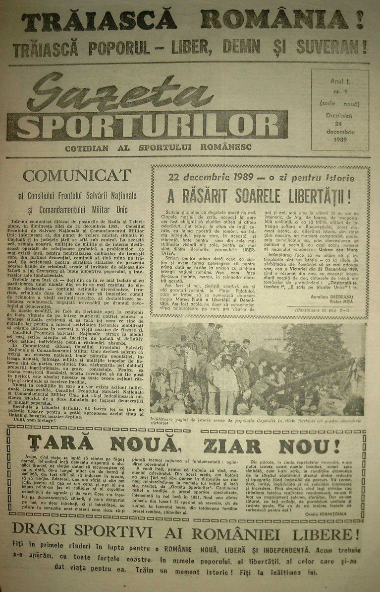 gazeta sporturilor numarul 1 1990