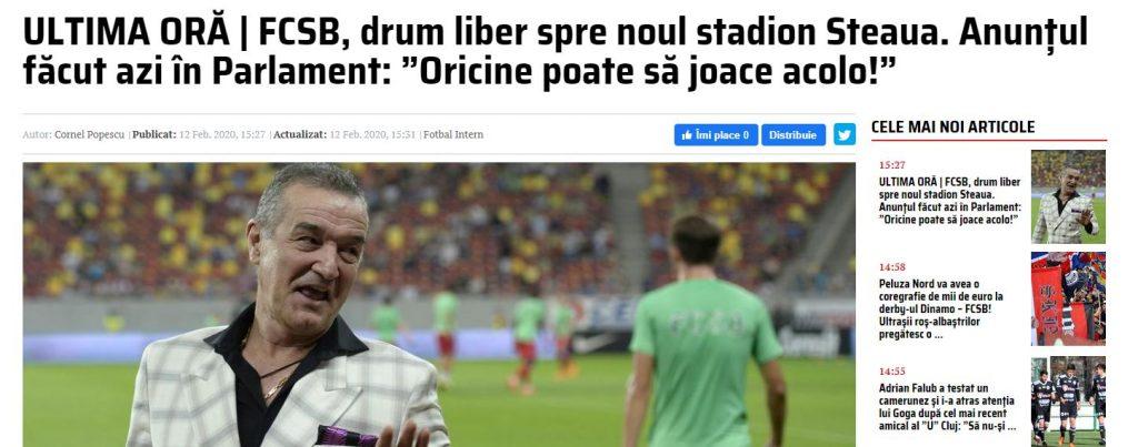 FC Fcsb nu poate să joace pe noul stadion Steaua