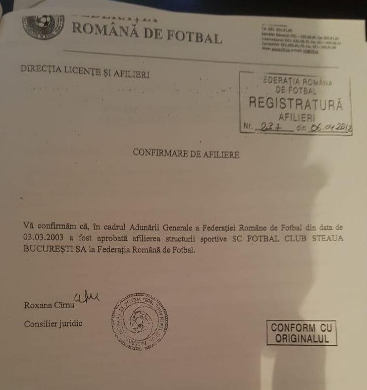 afiliere fotbal club fcsb FRF