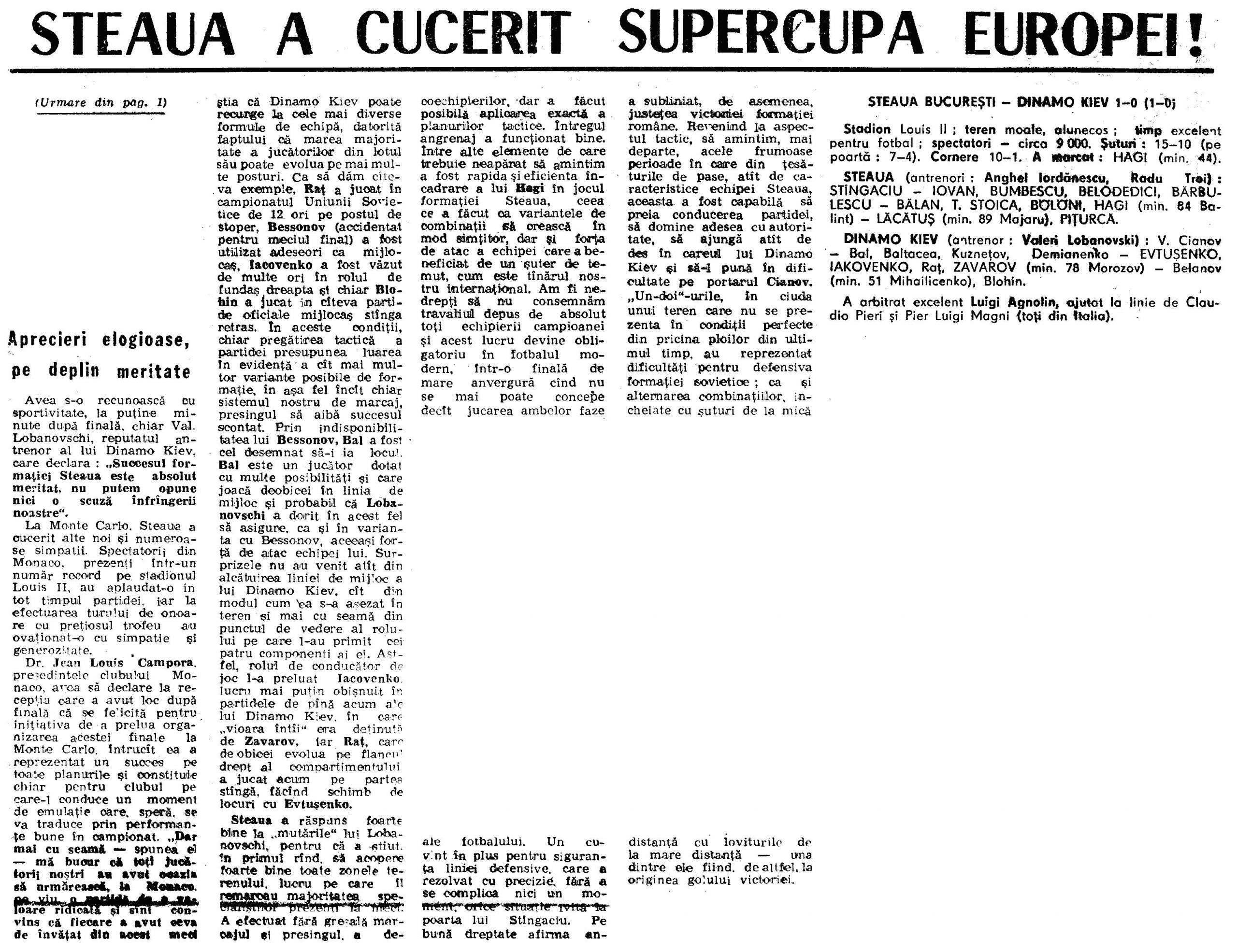 supercupa europei Steaua